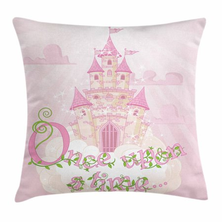 Once Upon a Time Throw Pillow Cushion Cover, Fairy Princess Castle on Sky Clouds Surreal Dream World Girls Story, Decorative Square Accent Pillow Case, 16 X 16 Inches, Rose Cream Green, by Ambesonne ()