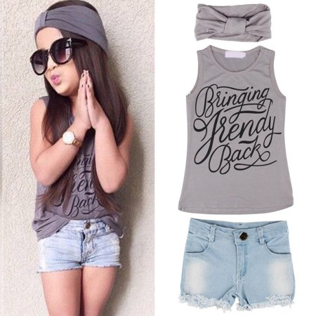 - 3Pc Kids Baby Girl Sleeveless T-Shirt Top+Floral Denim Shorts Outfits