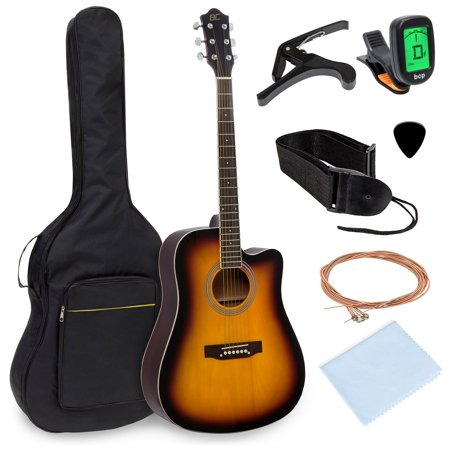Best Choice Products 41in Full Size Beginner Acoustic Cutaway Guitar Kit Set with Padded Case, Strap, Capo, Extra Strings, Digital Tuner
