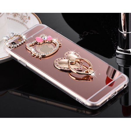Crystal Hard Case Stand (For iPhone iPhone 8, Heart Diamond Ring Case Mirror Luxury Fancy Bling Crystal Rhinestone Hard Cover with Stand ~ Estuche Funda Capa Tapa)