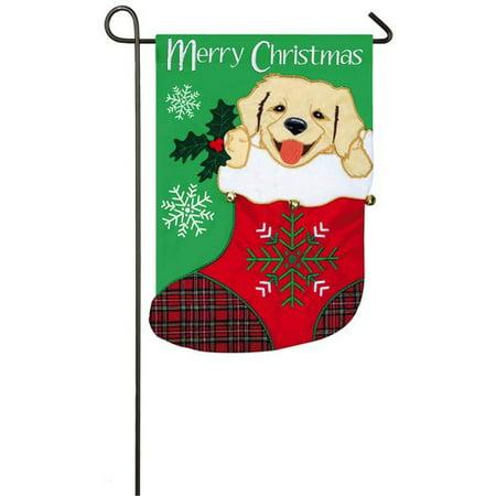 Evergreen Flag & Garden Puppy in Stocking 2-Sided Polyester 1'6 x 1 ft. Garden Flag