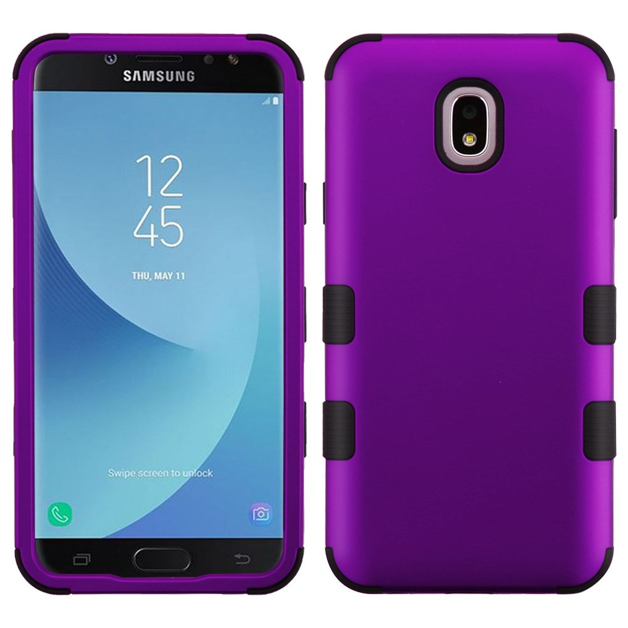 Insten Tuff Dual Layer Hybrid PC/TPU Rubber Case Cover For Samsung Galaxy J7 (2018)/J7 Refine/J7 V 2nd Gen (2018) - Purple/Black