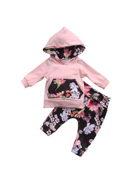 e2e916486a6d6 Product Image Newborn Infant Baby Girls Clothes Hooded Tops T-shirt+Floral Pants  Outfits Set