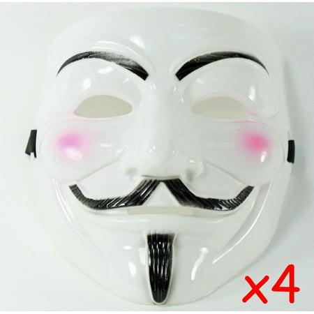 Brand New 4 White V for Vendetta Guy Fawkes Anonymous Costume Halloween Cosplay Masks KT00016