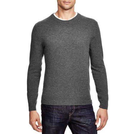 Bloomingdales Mens 2-Ply Cashmere Crewneck Sweater Large Ash With Elbow Patches