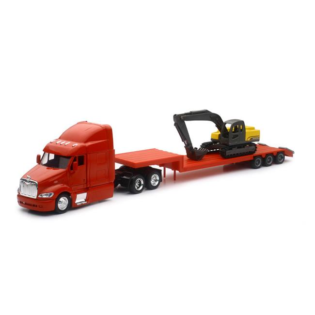 New-Ray SS-15133D Peterbilt 387 Lowboy With Excavator