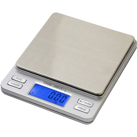 Smart Weigh Smart Weigh Digital Pro Pocket Scale with Back-Lit LCD Display, Tare, Hold and PCS Features, 2,000 x 0.1g, 2 Lids Included, Silver, SW-TOP2KG-SIL