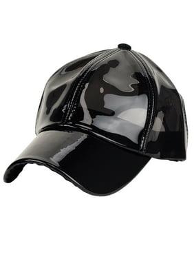 C.C Womens Transparent Waterproof PVC Rain Baseball Cap, Black