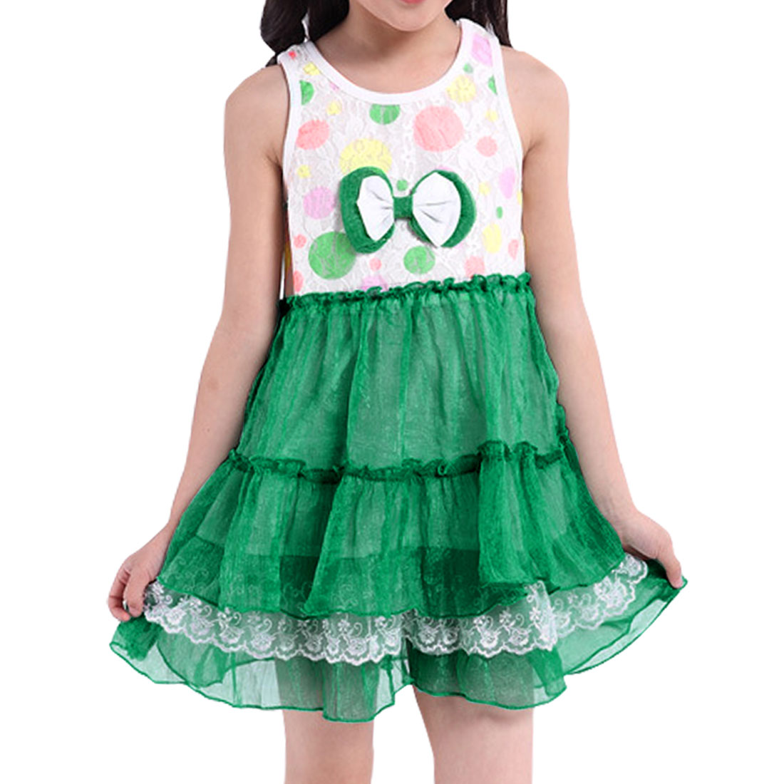 Girl Bowknot Tiered Lace Panel Casual Dress Allegra Kids Green 4