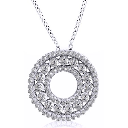 Natural Diamond Circle Wreath Pendant Necklace in 14K Solid White Gold (1 Cttw)