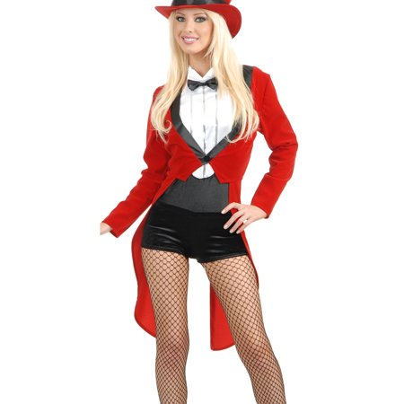Adult's Womens  Circus Sweetie Red Tuxedo Ringmaster Costume](Circus Freaks Halloween Ideas)
