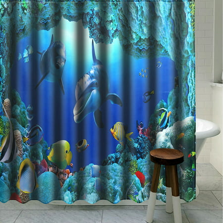 Application: bathroom, toilet, room, etc*Shower curtain DescriptionMaterial: PolyesterPattern: Dolphin OceanSize: 180 x180cmType:Shower curtainFeatures:● Easy to clean,● Anti-rust metal butt - image 4 de 6