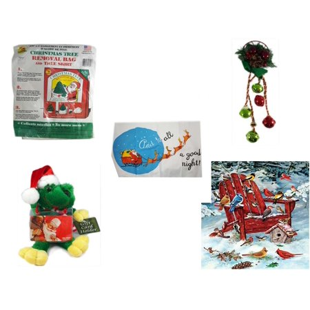 Christmas Fun Gift Bundle [5 Piece] -  Tree Removal Bag And Tree Skirt - Festive Holly Berry & Pinecone Door Knob Jingler - Santa's Pillowcase Sham And To All A Goodnight! -  Santa Frog  Gift Card H (Door Skirt)