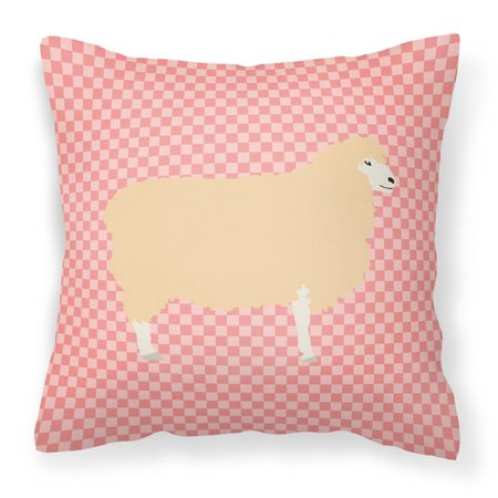 Carolines Treasures BB7974PW1818 English Leicester Longwool Sheep Pink Check Fabric Decorative Pillow, 18 x 18 in. - image 1 de 1