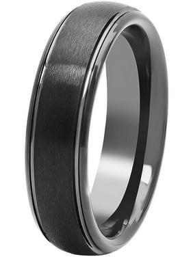 Men's Black Tungsten 6MM Comfort Fit Domed Wedding Band - Mens Ring