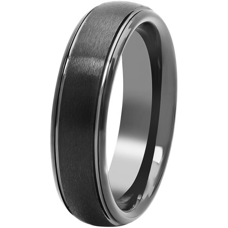 Men's Black Tungsten 6MM Comfort Fit Domed Wedding Band - Mens - Black Gloss Ring