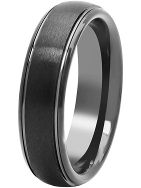 Mens Black Tungsten 6MM Comfort Fit Domed Wedding Band - Mens Ring