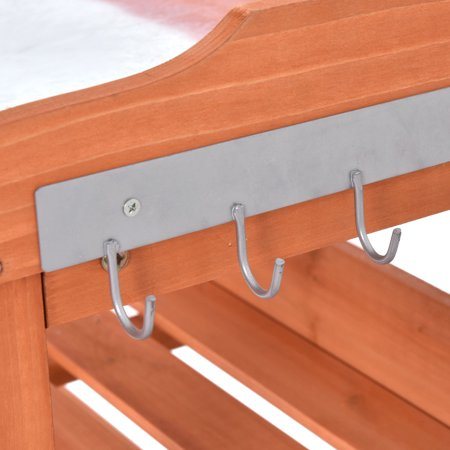 Garden Wooden Potting Bench Work Station Table Tool