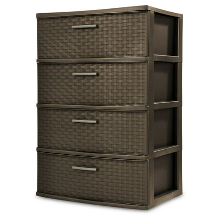 Sterilite, 4 Drawer Wide Weave Tower, Espresso (Utility 3 Drawer Tower)