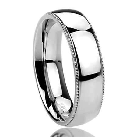 Men's Women's Stainless Steel 6mm Wedding Band Ring Milgrain Edges Domed Classy Ring (5 to 14)