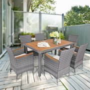 Costway 7PCS Patio Rattan Dining Set Acacia Wood Table Cushioned Chair Mix Gray