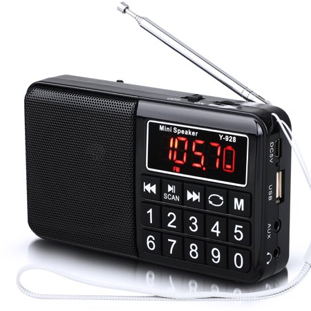 TSV FM Battery Operated Portable Pocket Radio - Best Reception and Longest Lasting. FM Compact Transistor Radios Player Operated by USB or DC Supply