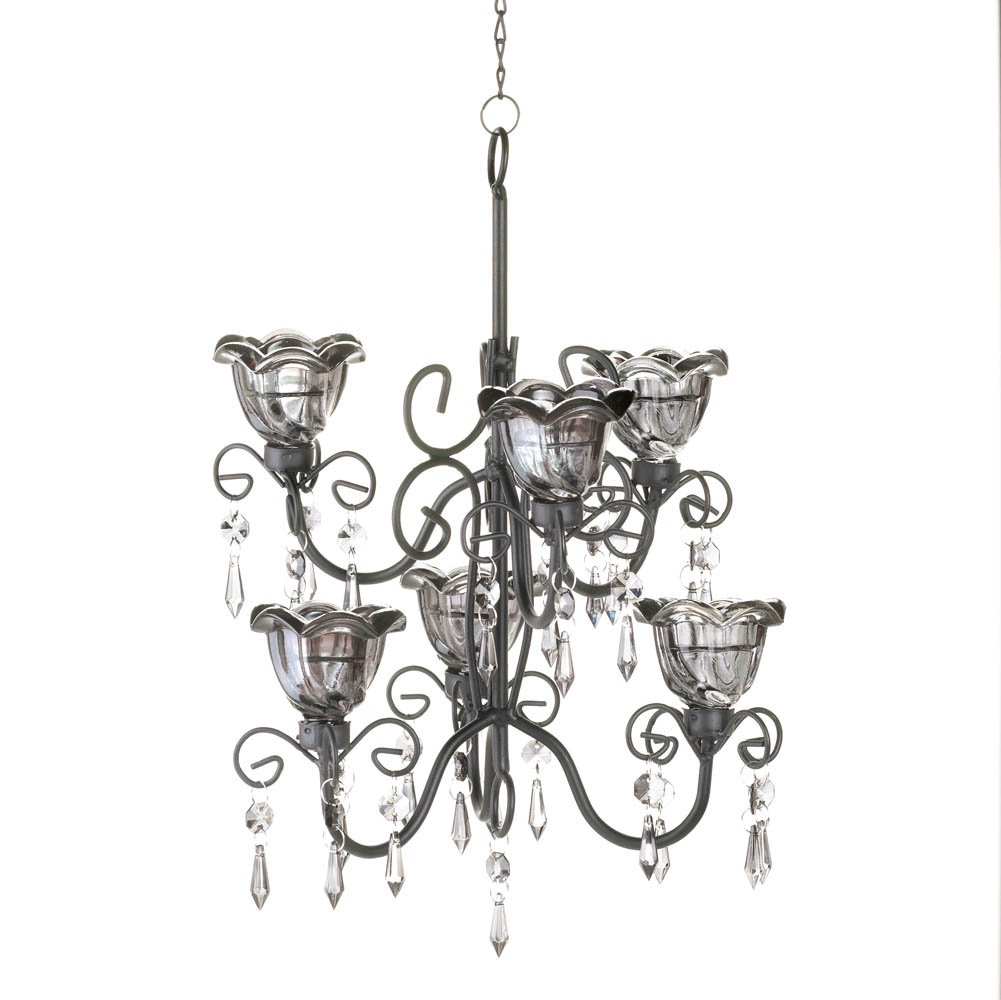 Decorative Chandelier Candle, Black Candle Chandelier Hanging Holders - Metal