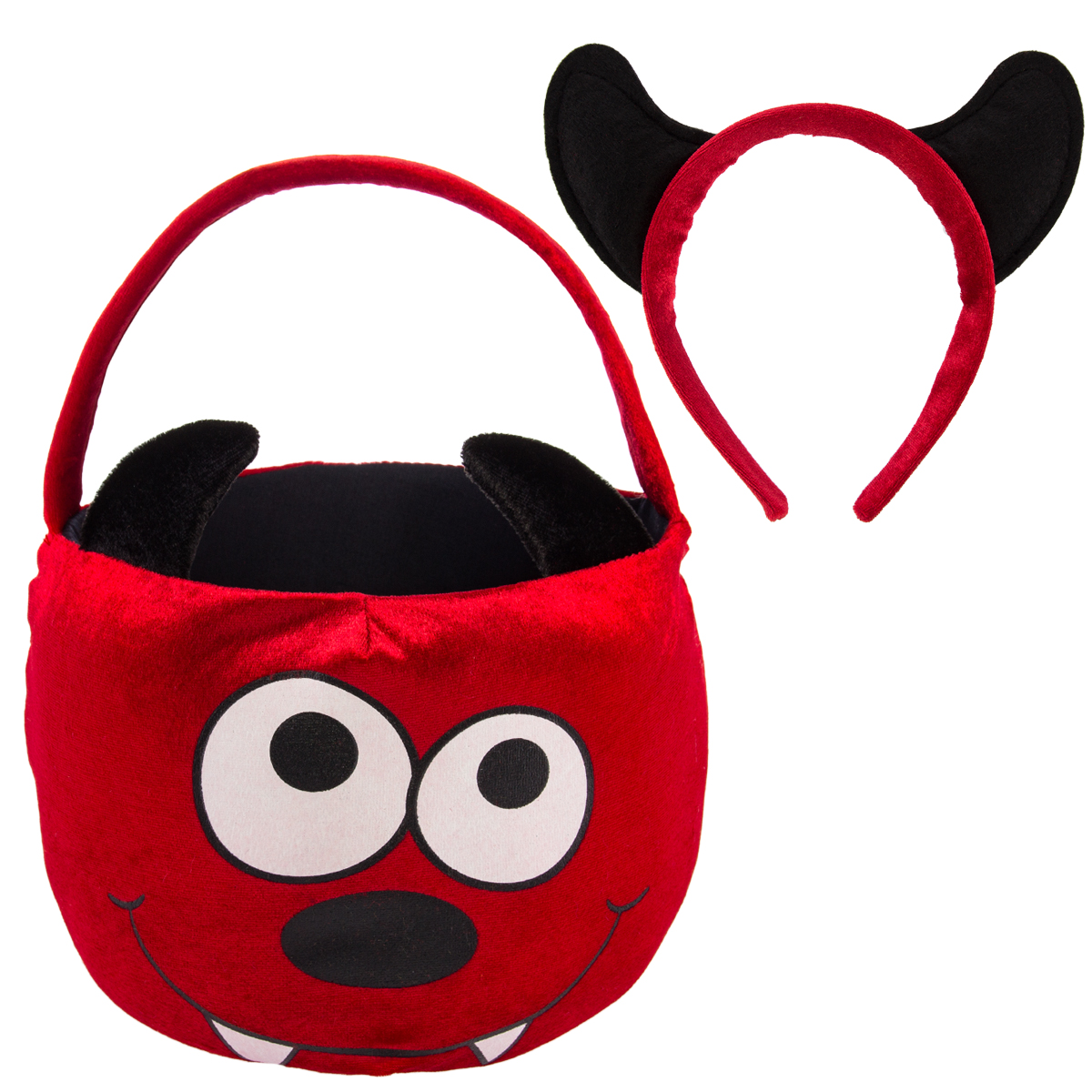 Dan Dee Halloween Plush Kids Trick Or Treat Basket Candy Bag & Costume Headband