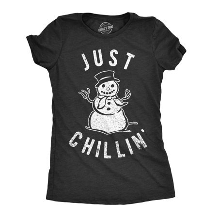 Chillin Snowman - Womens Just Chillin Snowman Tshirt Cute Funny Christmas Winter Tee For Ladies