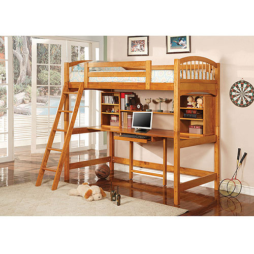 Coaster Twin-Over-Workstation Bed, Honey Pine