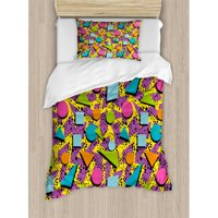 Ambesonne Funky Geometric 80s Memphis Fashion Style Figures Pop Art Inspired Pattern Duvet Cover Set