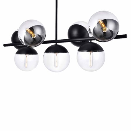 Elegant Lighting Ld6135 Eclipse 7 Light 43 Wide Linear Chandelier With Clear Gl