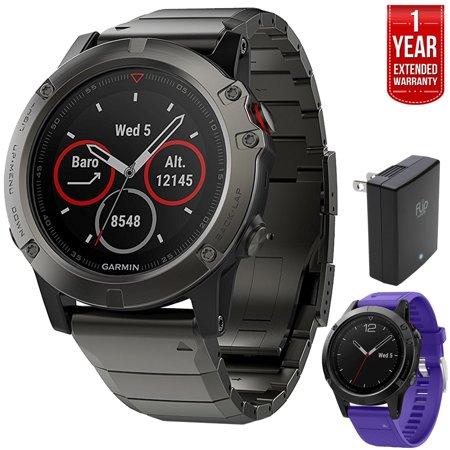 Garmin Fenix 5 Sapphire Multisport 47mm GPS Watch - Slate Gray with Metal Band (010-01688-20) + Silicon Wrist Band for Garmin Fenix 5 + 1 Year Extended
