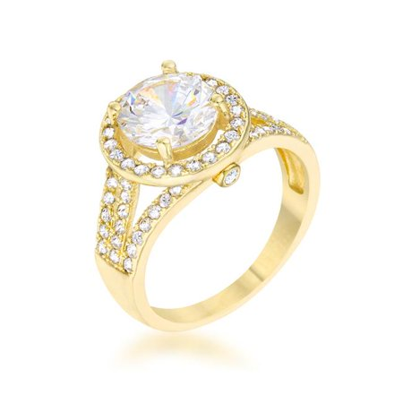 2.5ct CZ 14k Gold Engagement Ring Size 6