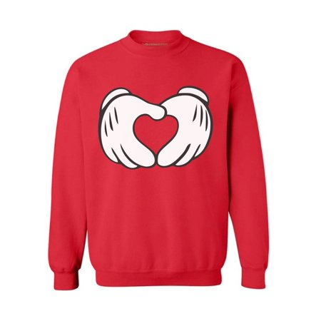 Awkward Styles Cartoon Hands Heart Sweatshirt Valentine Sweatshirt Cute Valentine Heart Sweater Valentine's Day Gifts for Him and for Her Heart Valentines Day Sweater for Men and for Women ()