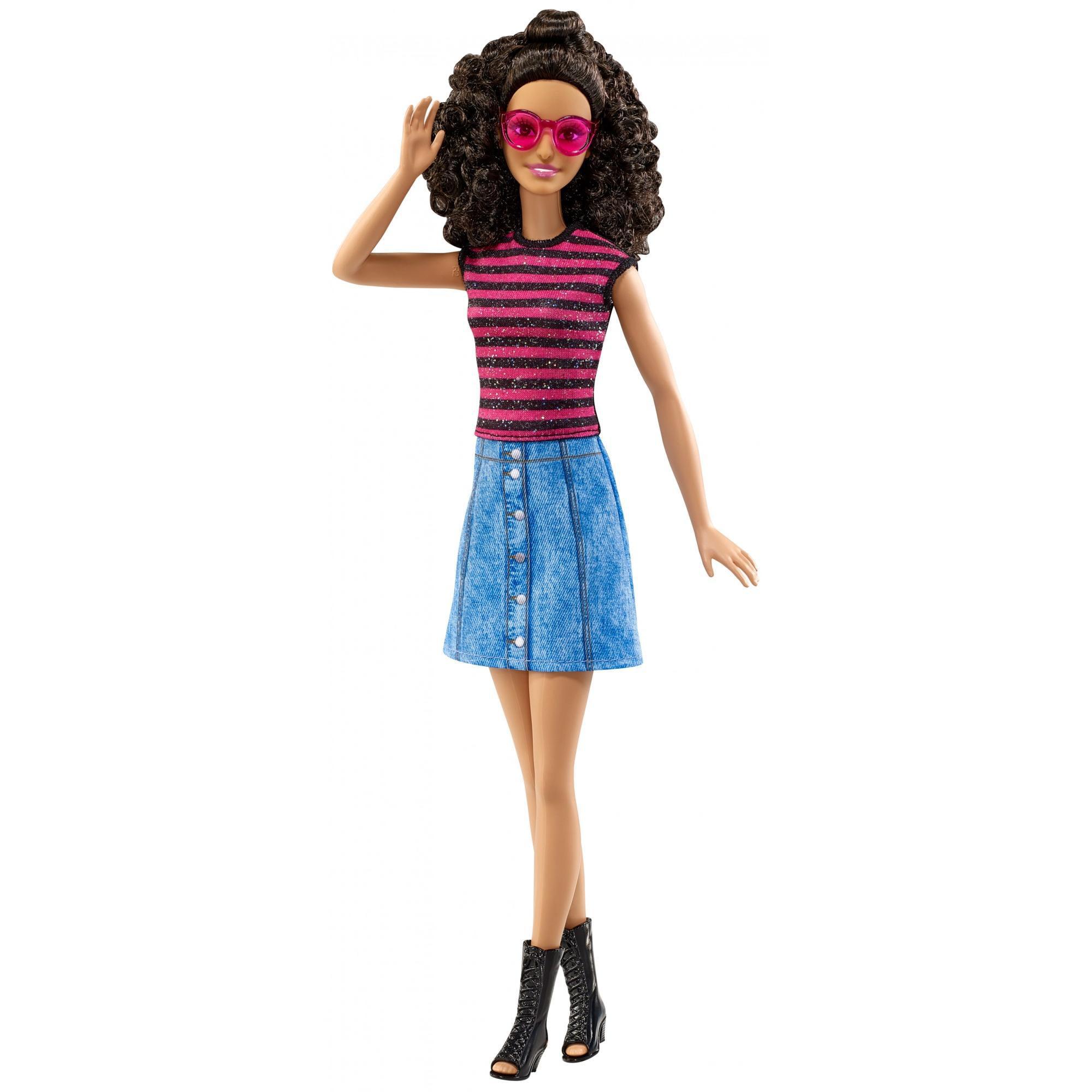 Barbie Fashionistas Doll Denim & Dazzle, Tall Body, Curly Dark Hair by MATTEL INC.