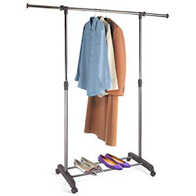proaid adjustable single rail garment rack portable clothing hanging rolling clothes rack with. Black Bedroom Furniture Sets. Home Design Ideas