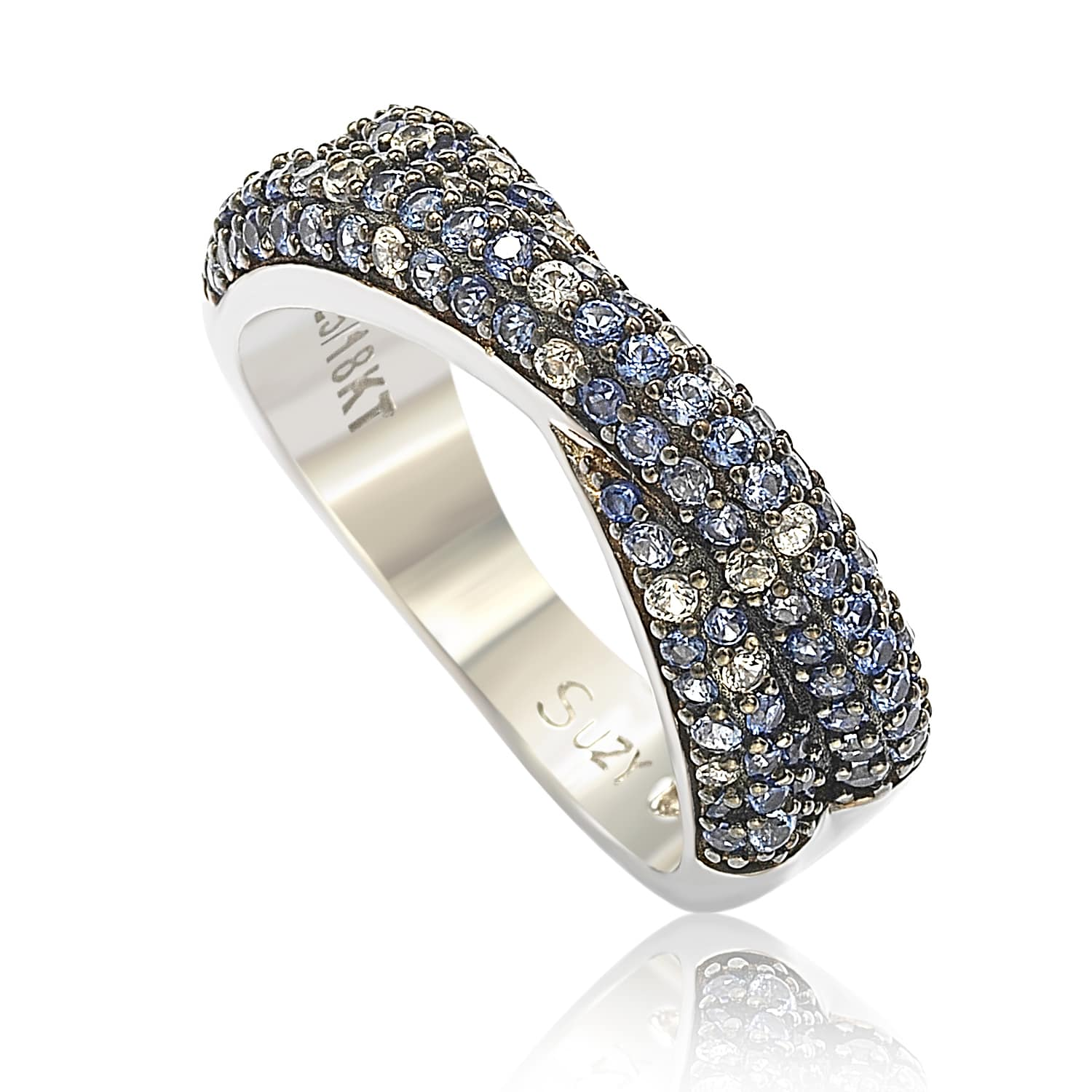 Suzy Levian Sterling Silver Blue & White Sapphire & Diamond Accent Petite Pave Crossover Ring by Suzy Levian LLC