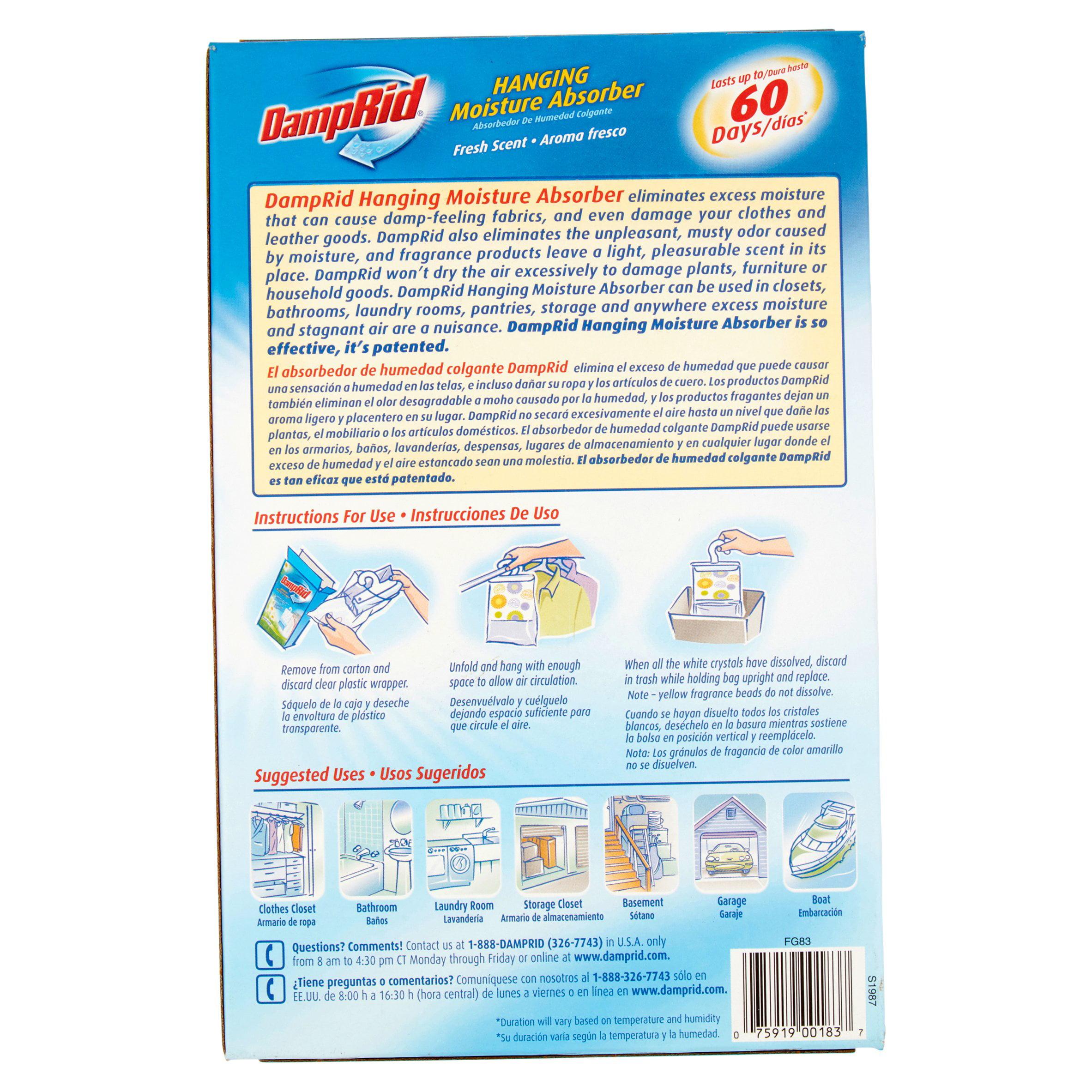 Damprid Hanging Moisture Absorber Fresh Scent 3 X 14 Oz Walmart