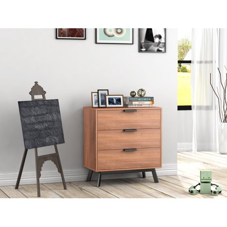 Mainstays Mid Century Modern 3 Drawers Chest in Vintage Umber Finish ()