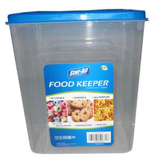 Stor-All SF135V/24 CLR 1 Gal Rectangle Food Keeper Clear With Blue Lid, Pack Of 24