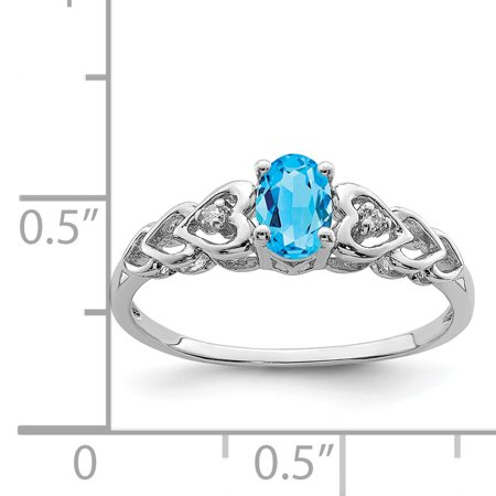 925 Sterling Silver Rhodium-Plated Light Swiss Blue Topaz and Diamond Ring - image 1 of 2