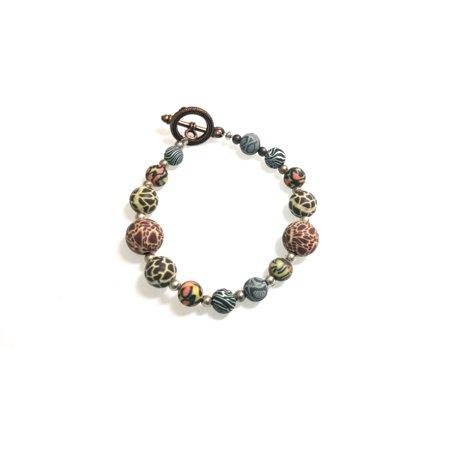 Safari Animal Print Themed Polymer Clay Beaded Bracelet Copper Tone Toggle Clasp - Polymer Clay Halloween Charm Bracelet