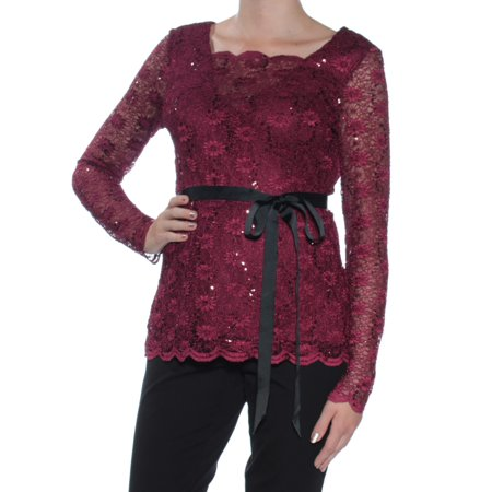 ONYX NITE Womens Burgundy Sequined Lace Long Sleeve Illusion Neckline Top  Size: