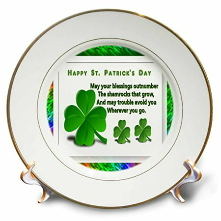 Porcelain Perforated Plate (3dRose St Patricks Day, Porcelain Plate, 8-inch)