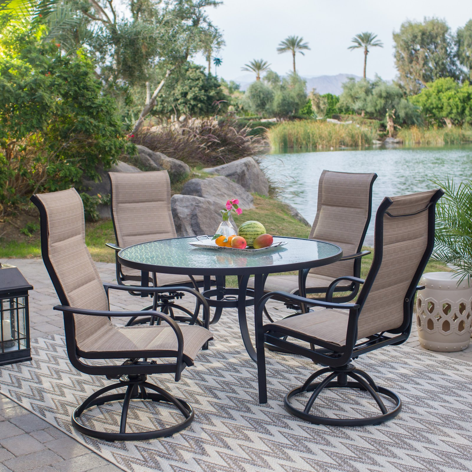 Coral Coast Wimberley Deluxe Padded Sling Rocker 5 Piece Patio Dining Set