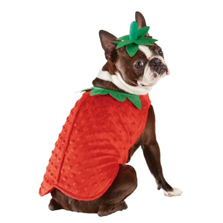 Strawberry Dog Costume Halloween Pet Outfit Jumpsuit & Hat X-Large (Painted Dog Faces For Halloween)