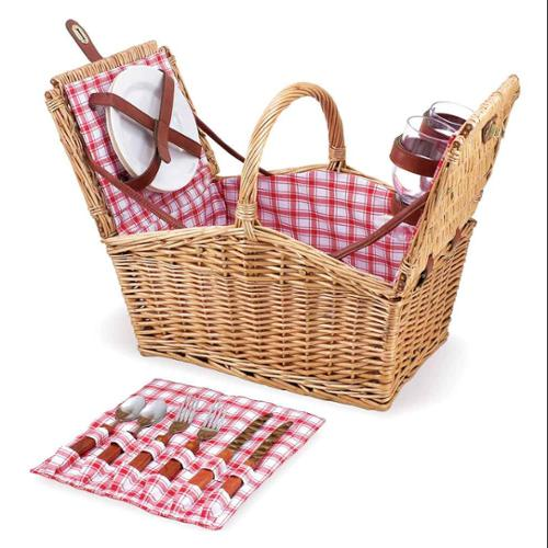 Picnic Basket in Red and White Plaid - Piccadilly