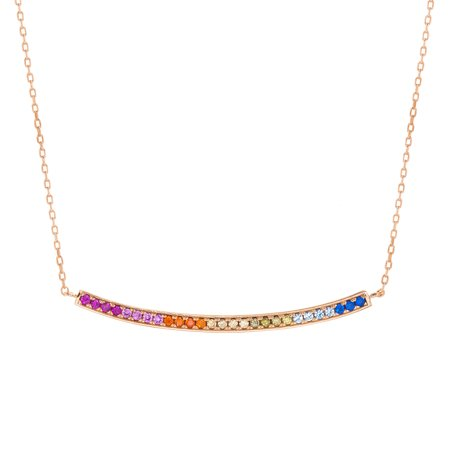 Multicolored Cubic Zirconia Curved Bar Necklace in Rose Gold Plated Sterling -