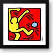 Untitled (Pele Poster), 1988 (one yellow kicker) 24x24 Framed Art Print by Haring, Keith